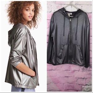 H&M loves Coachella silver metallic zip up jacket